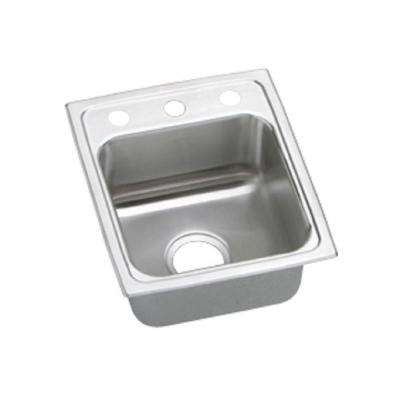 Lustertone Drop-In Stainless Steel 15 in. 3-Hole Bar Sink