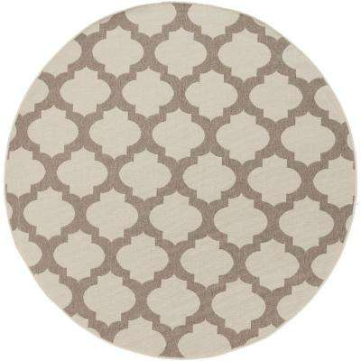 Aggie Beige 5 ft. x 5 ft. Round Indoor/Outdoor Area Rug