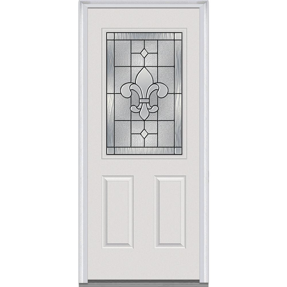 33.5 in. x 81.75 in. Carrollton Decorative Glass 1/2 Lite Painted Fiberglass Smooth Exterior Door