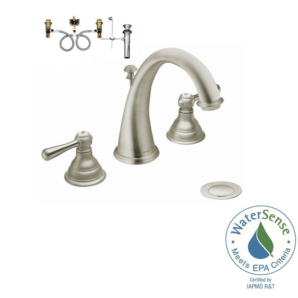 Kingsley 8 in. Widespread 2-Handle High-Arc Bathroom Faucet Trim Kit with Valve in Brushed Nickel