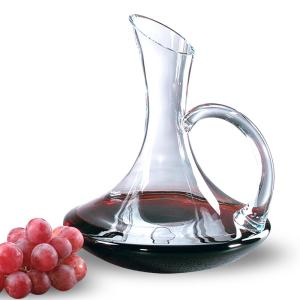 32 oz. 11 inch High Tristan Mouth Blown Lead Free Crystal Handled Red Wine Carafe by