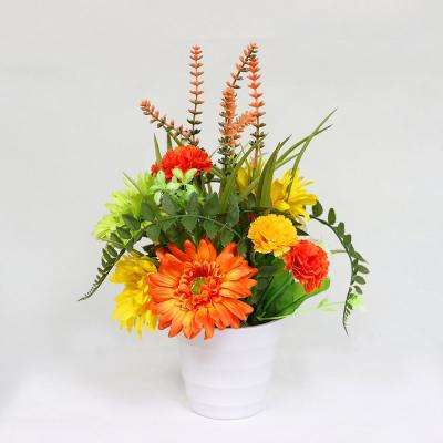 14 in. Indoor Artificial Flower Arrangement in Pot