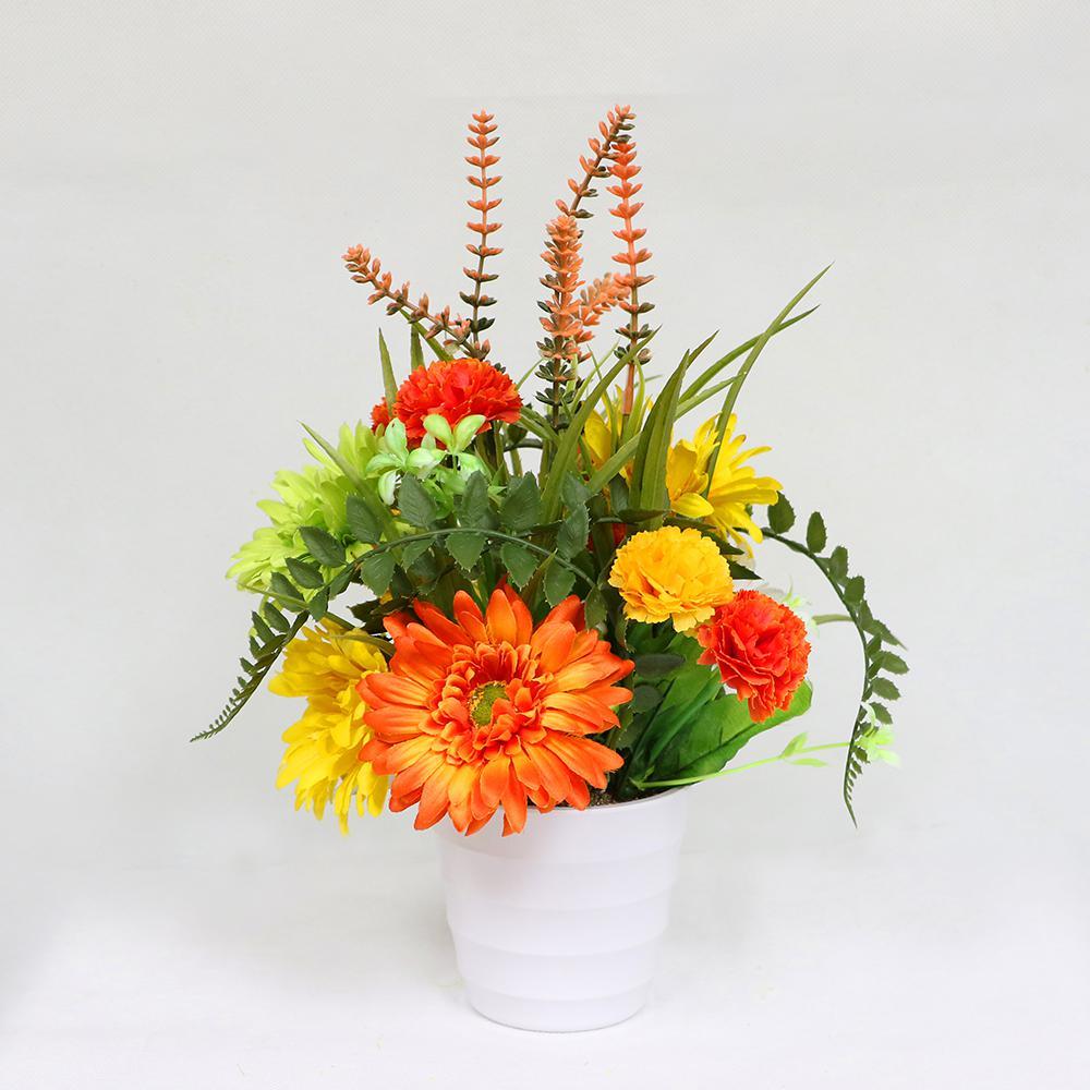 Puleo International 14 in. Indoor Artificial Flower Arrangement in Pot 302-TB817 - The Home Depot & Puleo International 14 in. Indoor Artificial Flower Arrangement in ...