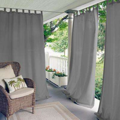 Matine Gray Indoor/Outdoor Window Curtain Panel - 52 in. W x 108 in. L