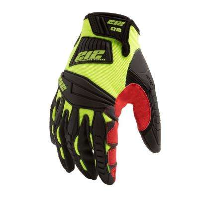 Super Hi-Vis Cut Resistant Level 2 Impact Absorbent Work Safety Gloves, Red/Yellow