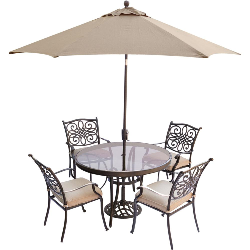 Traditions 5 Piece Aluminum Outdoor Dining Set With Round Gl Top Table Umbrella And Base Natural Oat Cushions