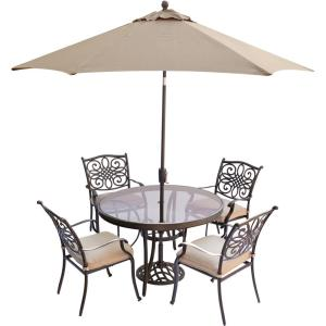 Hanover Traditions 5-Piece Aluminum Outdoor Dining Set with Round Glass-Top... by Hanover