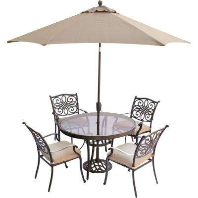 Southwestern 4 up beigetan glass patio dining sets traditions 5 piece aluminum outdoor dining set with round glass top table umbrella watchthetrailerfo