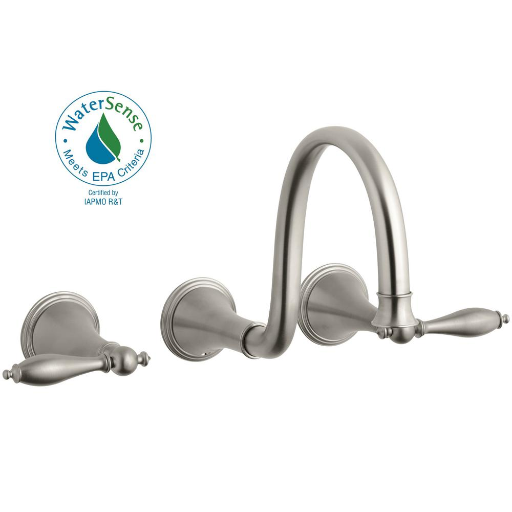 KOHLER Finial 8 in. Wall Mount 2-Handle Low-Arc Bathroom Faucet in Vibrant Brushed Nickel (Valve Not Included)