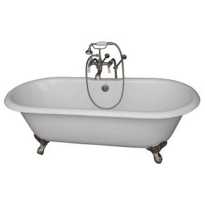 Barclay Products 5.6 ft. Cast Iron Imperial Feet Double Roll Top Tub in White with Brushed Nickel Accessories by Barclay Products