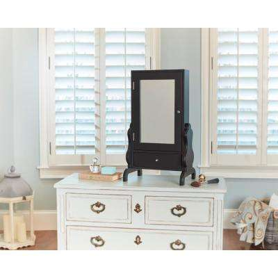 Black Tabletop Mirror with Jewelry Storage