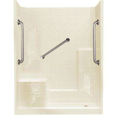 32 in. x 60 in. x 77 in. Standard Plus 24 Low Threshold 3-Piece Shower Kit in Biscuit with Left Seat and Right Drain