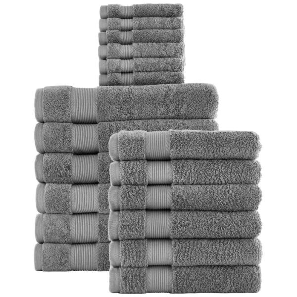 18-Piece Hygrocotton Towel Set in Stone Gray
