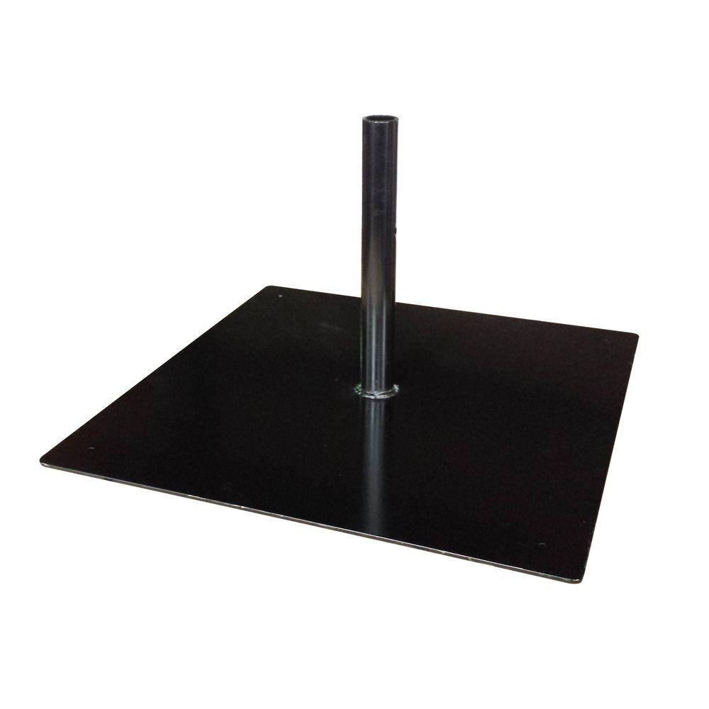 Gronomics Steel Patio Umbrella Base Stand With Mounting Plate In Black Usmp 28 The Home Depot