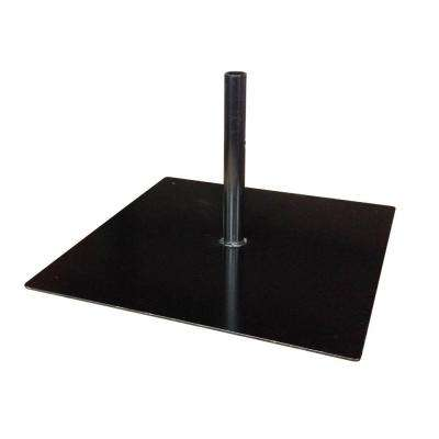 Steel Patio Umbrella Base Stand with Mounting Plate in Black
