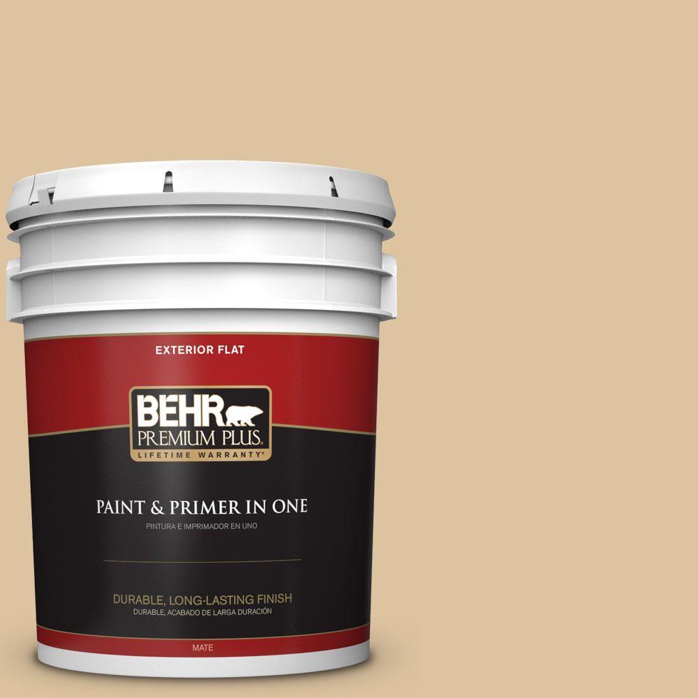 BEHR Premium Plus 5-gal. #S300-3 Almond Cookie Flat Exterior Paint