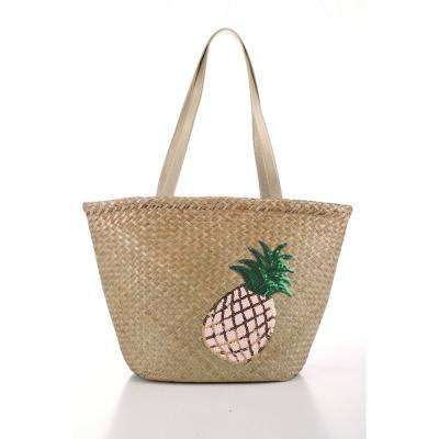 STRAW BAG WITH PINEAPPLE