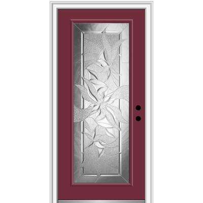 32 in. x 80 in. Impressions Left-Hand Inswing Full Lite Decorative Glass Painted Steel Prehung Front Door