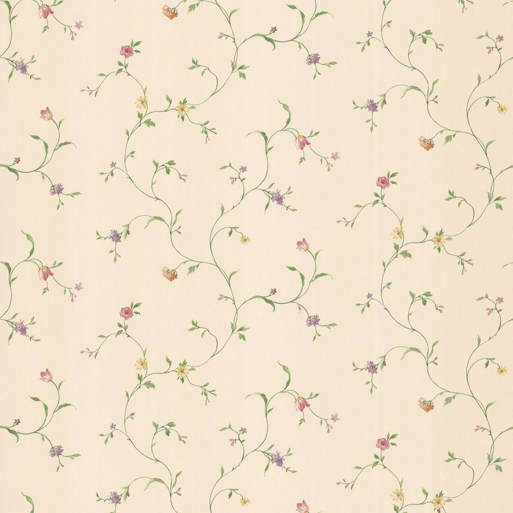The Wallpaper Company 56 sq. ft. Beige Floral Trail Wallpaper-DISCONTINUED