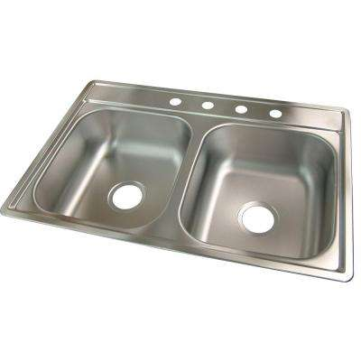 Fhp Double Satin Drop-In Stainless Steel 33 in. 4-Hole Double Bowl Kitchen Sink