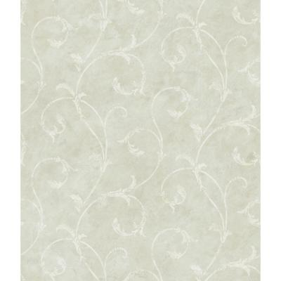Carigan Grey Scroll Wallpaper Sample