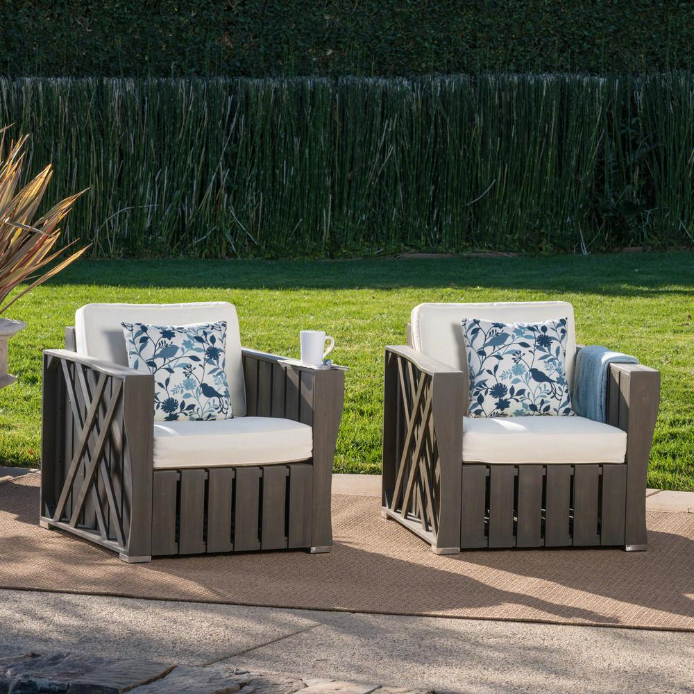 Le House Lyla Grey Farmhouse Style Wood Outdoor Lounge Chairs With Cream Cushions 2