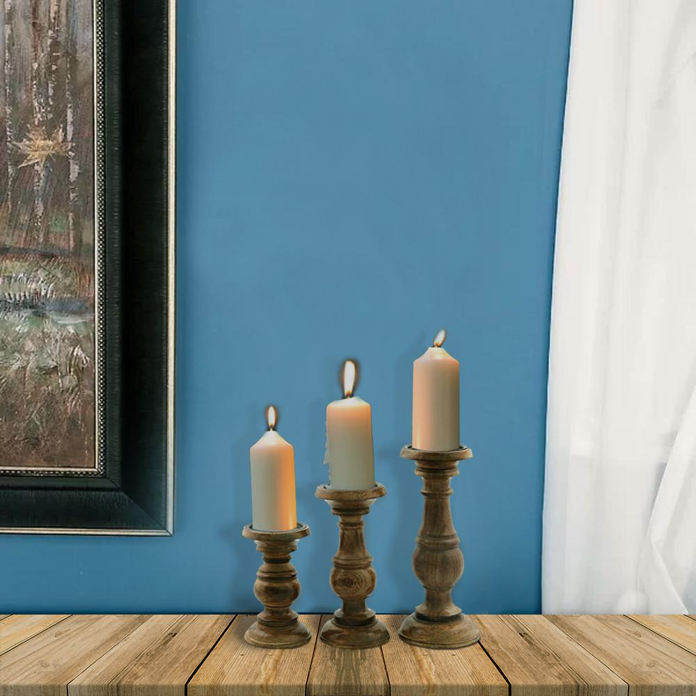 Make An Eye Catching Jewelry Stand From Plumber S Copper: Benzara Natural Wooden Brown Pillar Shaped Candle Holder
