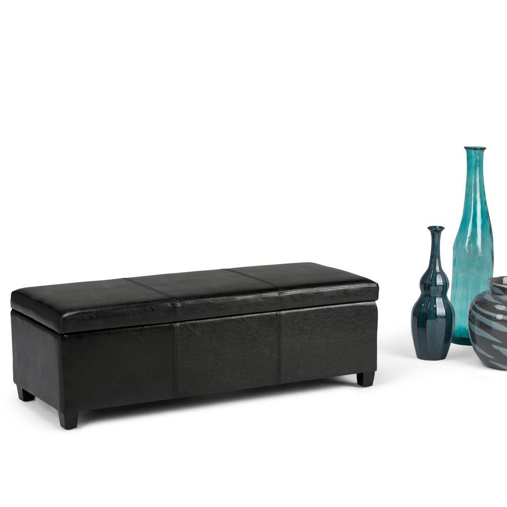 Great Simpli Home Avalon Black Storage Bench