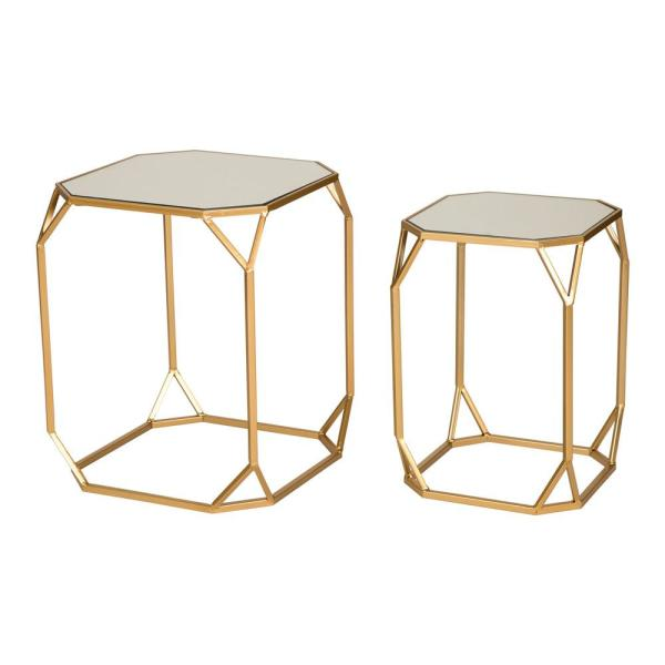 Glitzhome Deluxe Metal With Glass Gold Accent Table (Set of 2)