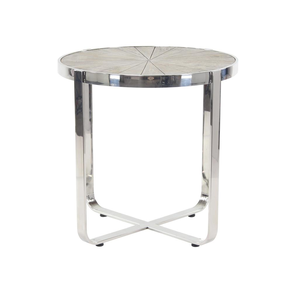 Brown Radial End Table With Silver Frame