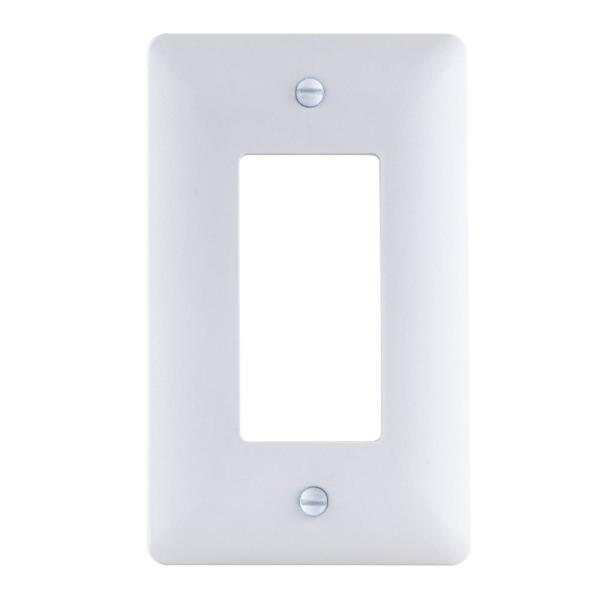 1-Gang Decorator Plastic Wall Plate, White Textured