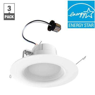 65-Watt Equivalent Daylight 6 in. White Integrated LED Recessed Trim (3-Pack)