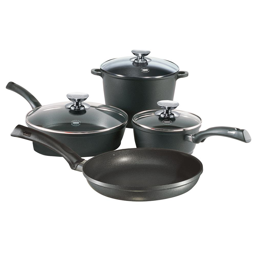 Signocast 7 Piece Non Stick Cast Aluminum Cookware Set, Black