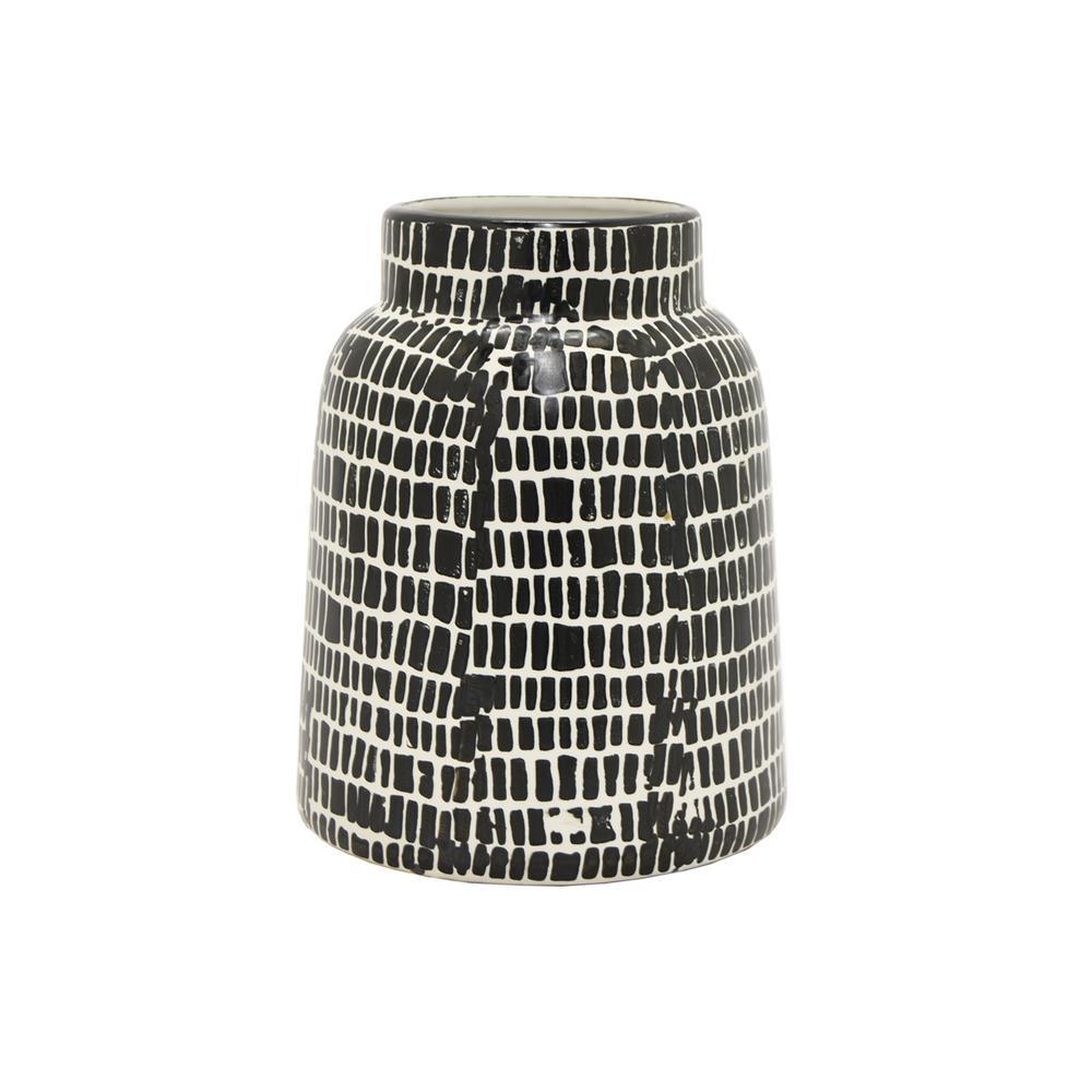 Three Hands Decorative Black And White Ceramic Vase