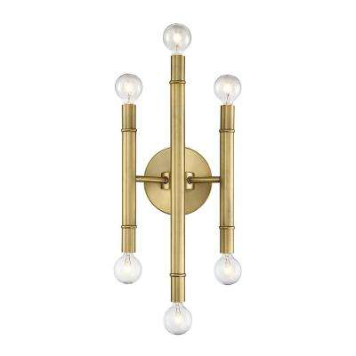 6-Light Natural Brass Sconce