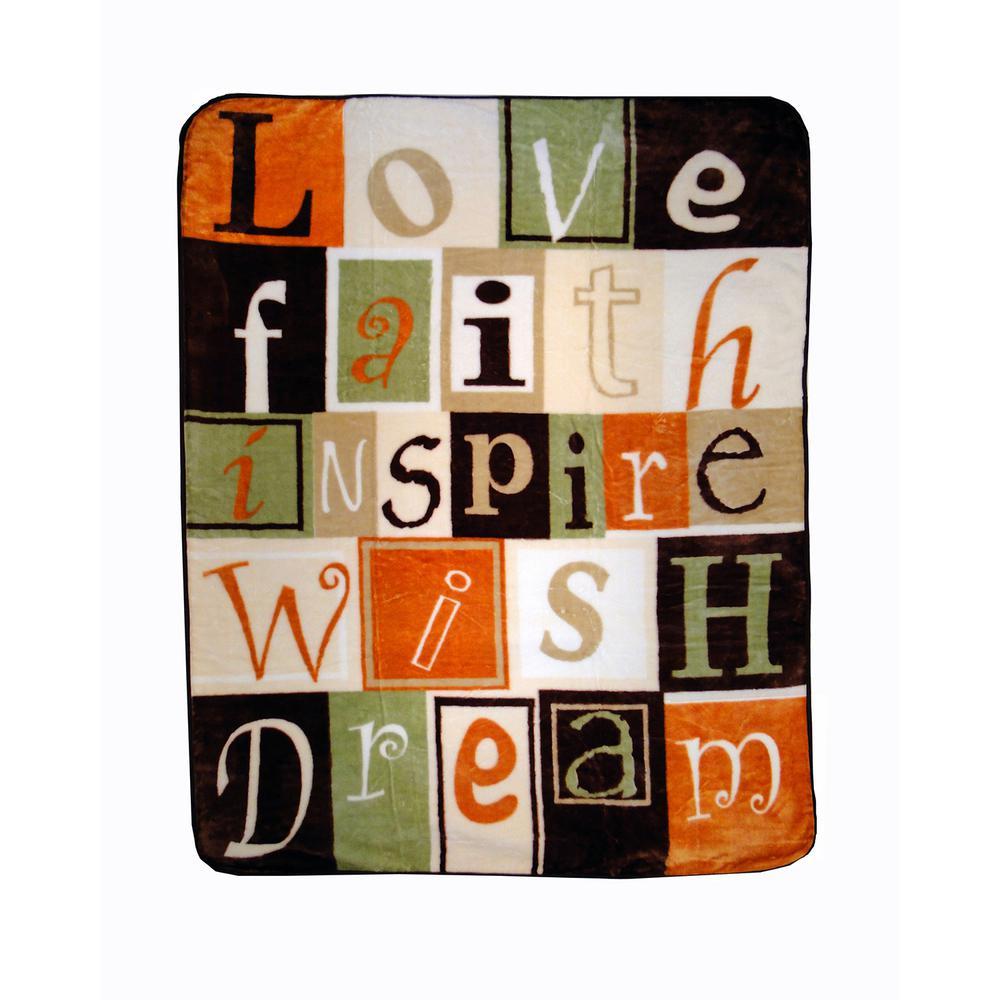 80 in. x 60 in. High Pile Love Faith Inspire Raschel Knit Throw