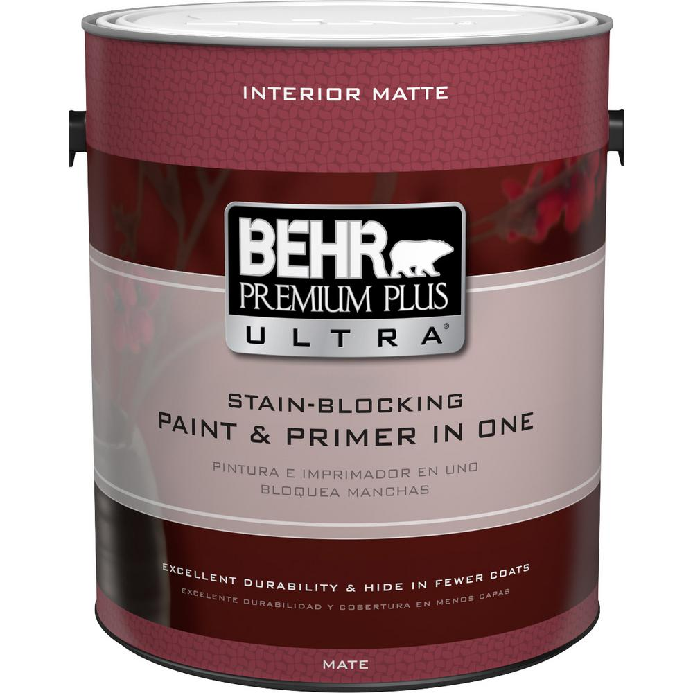 BEHR Premium Plus Ultra 1 gal. Ultra Pure White Matte Interior Paint and Primer in One