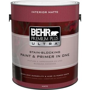 BEHR Premium Plus 1 Gal. Ultra Pure White Flat Zero VOC Interior Paint And  Primer In One 105001   The Home Depot