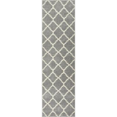 Sydney Lulu's Lattice Moroccan Trellis Grey 3 ft. x 10 ft. Runner Rug