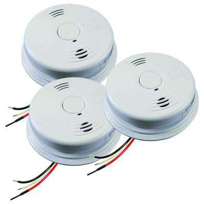 Worry Free Hardwire Smoke and Carbon Monoxide Combination Detector with 10-Year Battery Backup and Voice Alarm (3-pack)