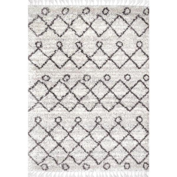 Kristi Moroccan Transitional Shag Ivory 9 ft. x 12 ft. Area Rug