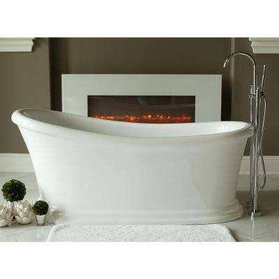 Journey 5.6 ft. Acrylic Slipper Flatbottom Non-Whirlpool Bathtub in White