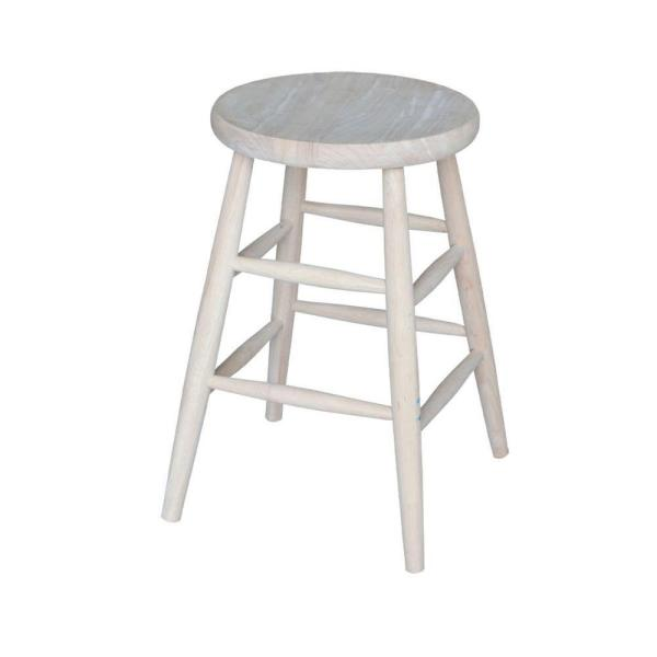 International Concepts 24 in. Unfinished Wood Bar Stool