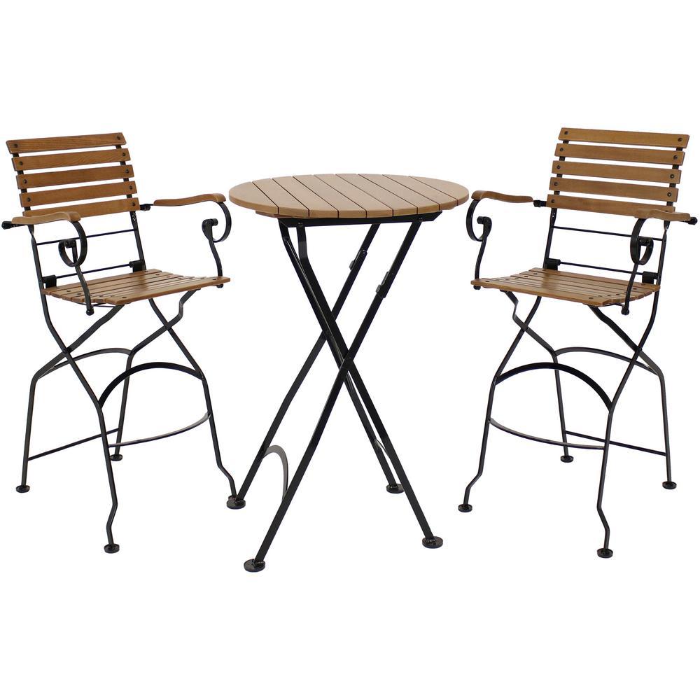Sunnydaze Decor Deluxe 3 pc Wood Bar Height Outdoor Dining Set