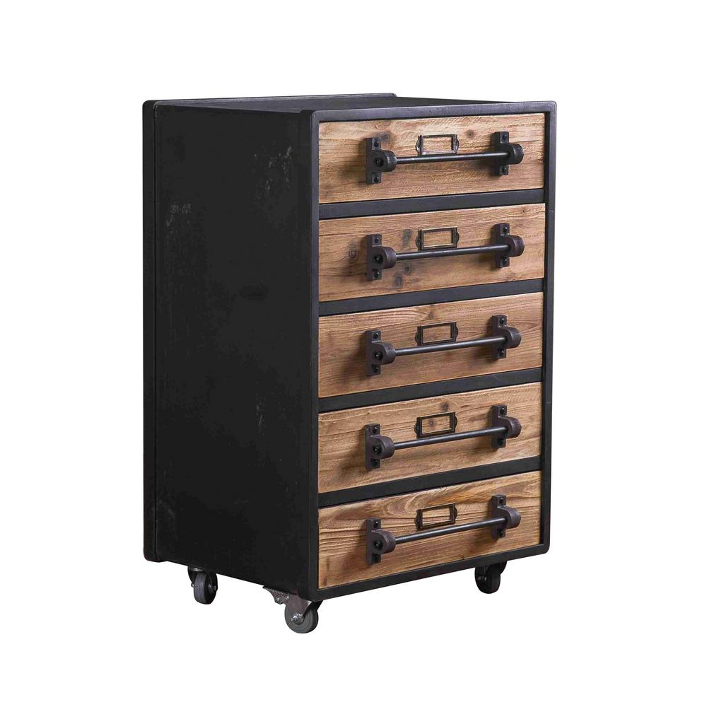 Grey Wood 5-Drawer Storage Cabinet