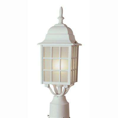 Cityscape 1-Light Outdoor White Post Top Lantern with Frosted Glass