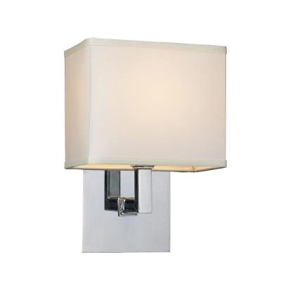 1-Light Polished Chrome Sconce with Off-White Fabric Shade