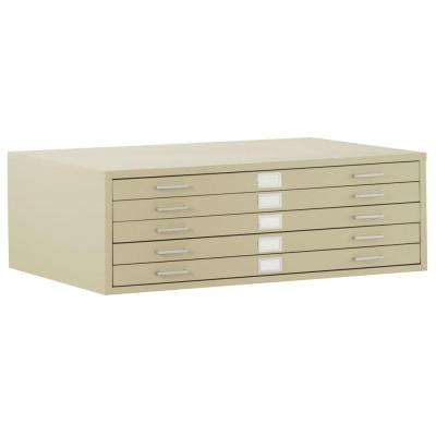 16 in. H x 56 in. W x 41 in. D 5-Drawer Flat File Cabinet in Putty