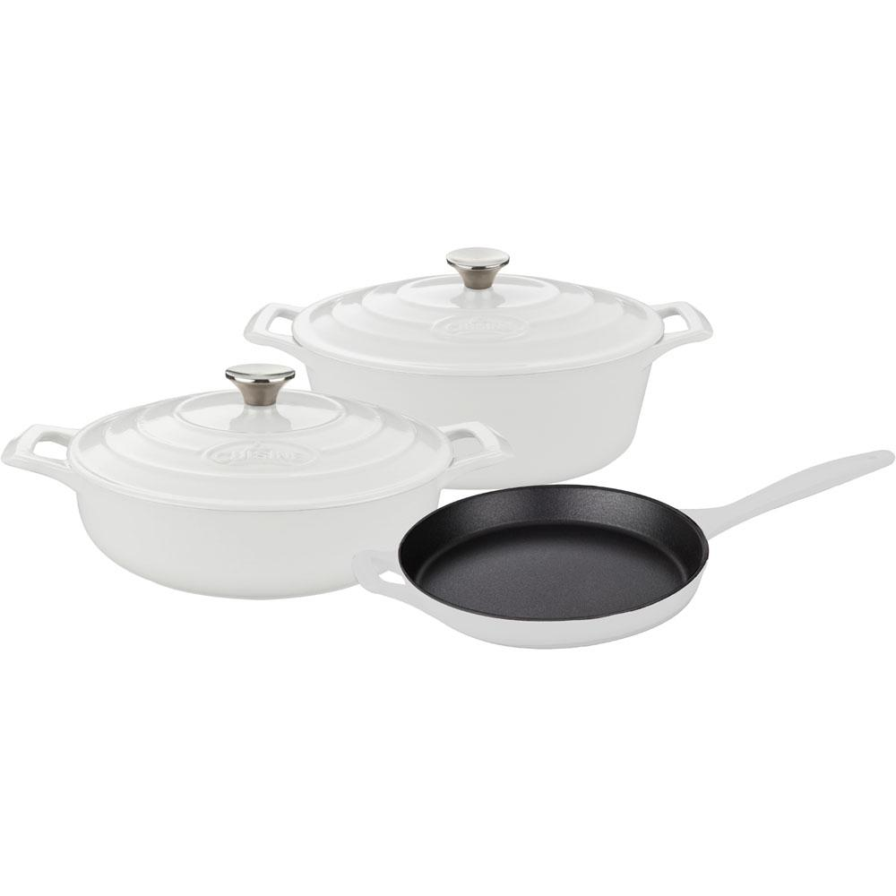 PRO 5-Piece Enameled Cast Iron Cookware Set with Saute, Skillet and