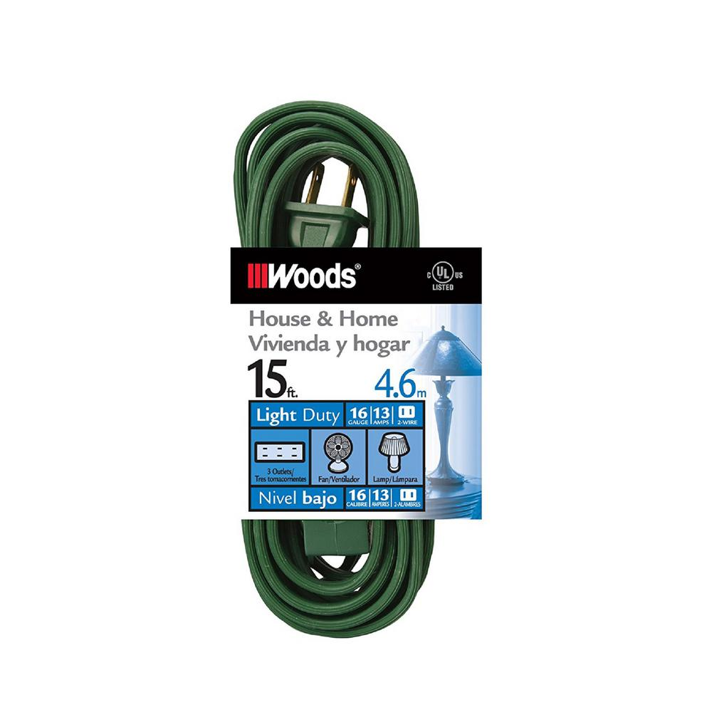 15 ft. 16/2-Gauge Indoor Extension Cord, Green